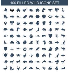 100 wild icons vector