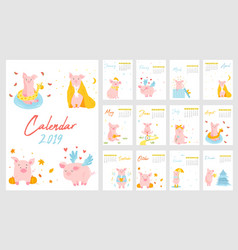 2019 calendar with funny pigs f vector image