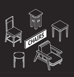 3d line drawn isometric chairs white on dark vector