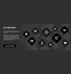 3d printing banner 10 icons concept3d printer vector