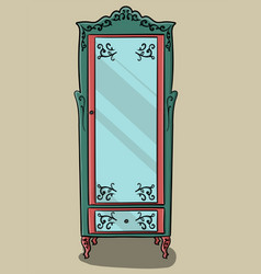 a turquoise cupboard with pink details and a vector image