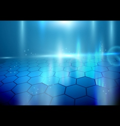 Abstract hexagons on blue background vector
