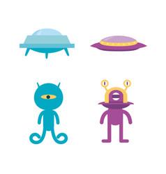 alien icon spaceship vector image