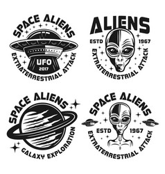 aliens and ufo vintage monochrome emblems vector image