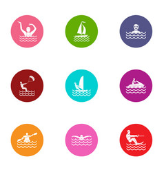 Aquatic fun icons set flat style vector