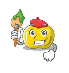 Artist yellow apple slices cartoon shape vector