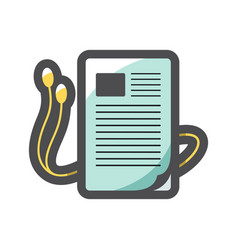 Audiobook headphones and book sheet icon vector