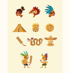 Aztec character people snake pyramid weapon native vector