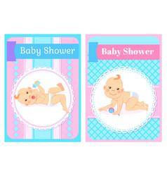 Baby shower invitations in round frame milestones vector