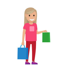 Blond girl with bags shopping time vector