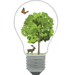 Bulb with tree and butterfly vector