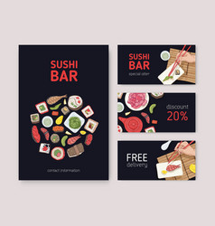 bundle of flyers web banners or coupons for vector image