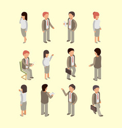 business people isometric office workers managers vector image