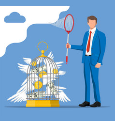Businessman with butterfly net and cage with money vector