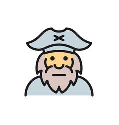 captain sailor pirate old man flat color line vector image