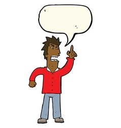 Cartoon angry man making point with speech bubble vector