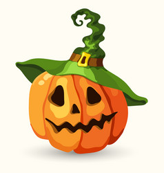 cartoon halloween pumpkin wearing witch hat vector image
