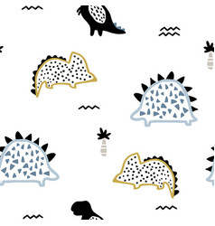childish seamless pattern with ink drawn dino vector image