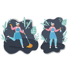 Cleaning maid woman mop and spray vector