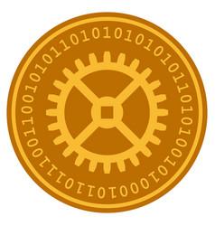 clock gear digital coin vector image