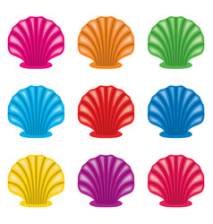 colorful set ocean shell icons vector image