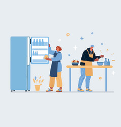 couple in love cooking vector image