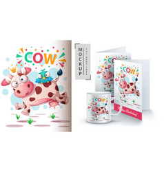 Cow and bird - mockup for your idea vector