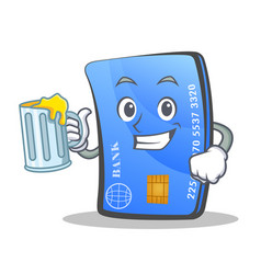 Credit card character cartoon with juice vector