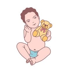 cute newborn baby boy or funny small toddler vector image