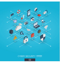 Cyber security integrated 3d web icons digital vector