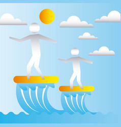 dad and son on surfboards vector image