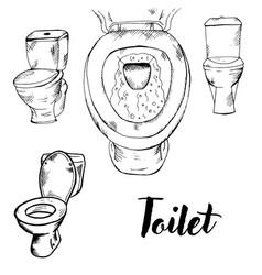 doodle toilet toilet toilet vector image