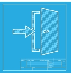 Door Exit sign White section of icon on blueprint vector image