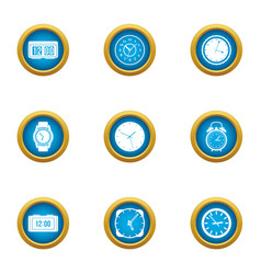 Duration icons set flat style vector