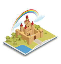 Fairy tale castle isometric composition vector
