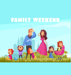 Family weekend colored background vector