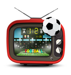football team on stadium on retro red television vector image