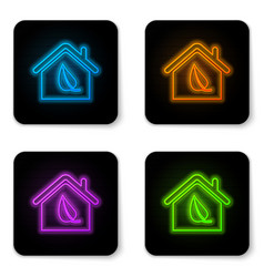 glowing neon eco friendly house icon isolated on vector image