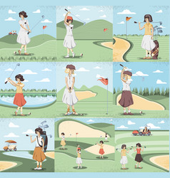 golf player women in course vector image