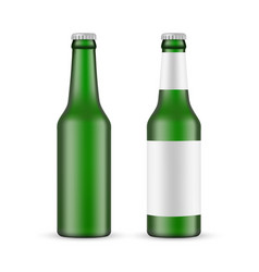 Green glass beer bottle with label blank mockup vector