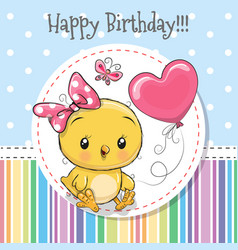 Greeting card cute chicken girl with balloon vector