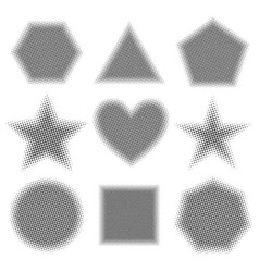 Grey geometric shapes with halftone effect vector