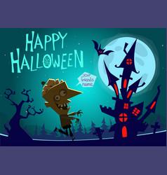 halloween haunted house on night background vector image