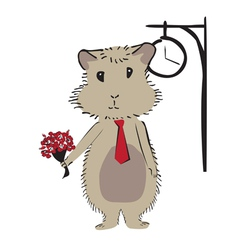 Hamster with flowers vector