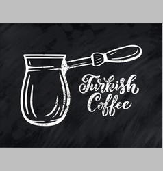 hand lettering name of coffee with sketch for vector image