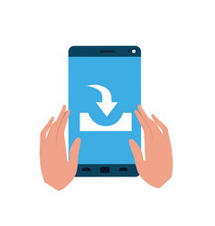 hands with smartphone isolated icon vector image