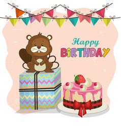 Happy birthday card with cute beaver vector