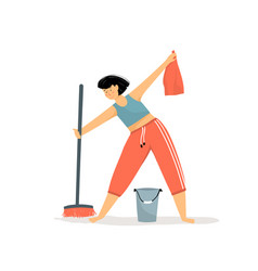 Happy young cleaning lady flat fun cartoon girl vector