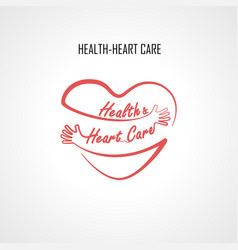 Health amp heart care typographical design vector