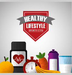 healthy lifestyle sports gym food vector image